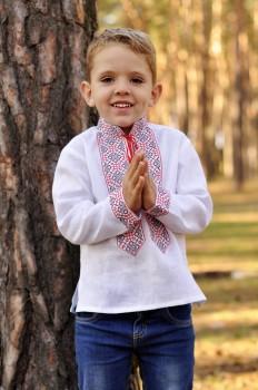 Вышитая детская рубашка для мальчика с красно-черной вышивкой