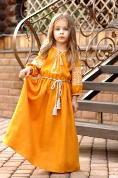 Яркое детское платье из натуральной ткани