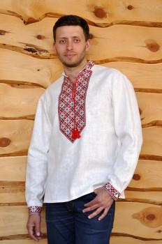Белая мужская вышиванка с красно-черной вышивкой