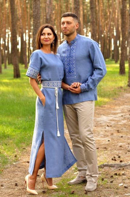 Вышитый комплект – мужская рубашка и женское платье цвета денима