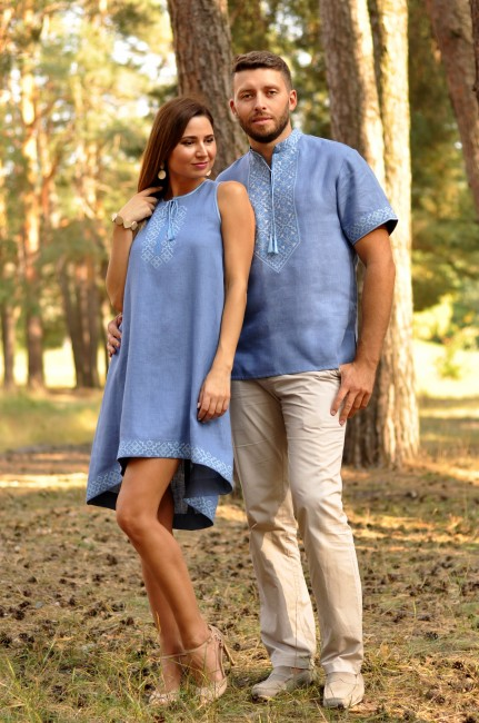 Стильная мужская рубашка с коротким рукавом и женское вышитое платье оригинального кроя
