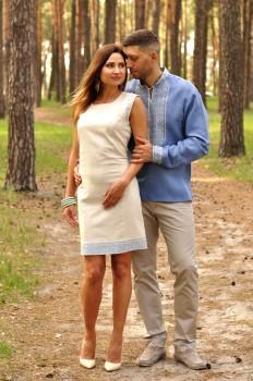 Мужская рубашка с вышивкой и вышитое женское платье-футляр