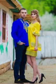 Патриотическая мужская вышиванка с гербом Украины и женское платье с оригинальным орнаментом