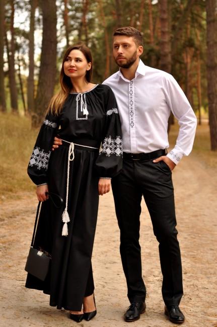 Мужская рубашка классического кроя и изысканное женское платье с вышивкой