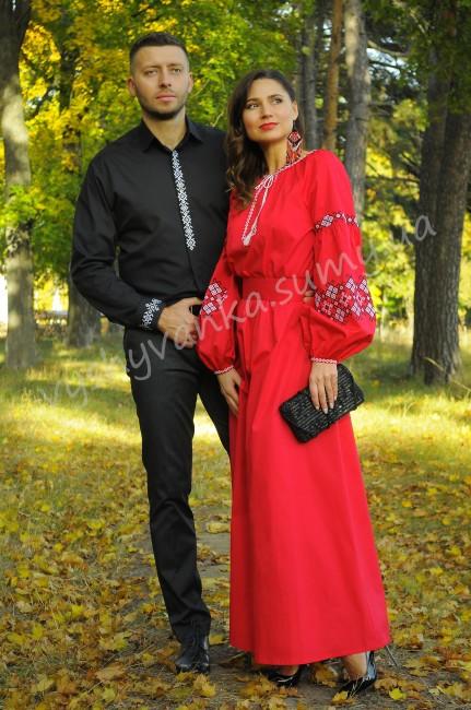 Ослепительный комплект для эспрессивной пары - эффектная мужская классическая рубашка с вышивкой и роскошное вечернее платье огненного цвета