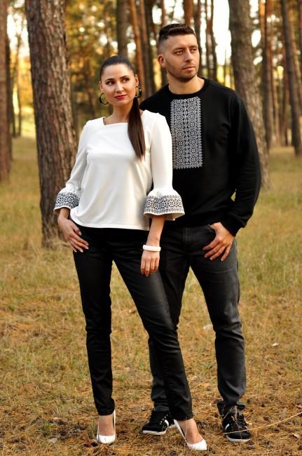 Свитшот мужской  и женская блуза с вышивкой