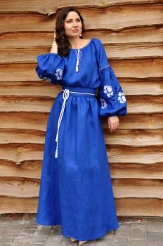 Платье с вышивкой из натурального льна