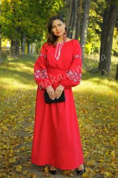 Роскошное красное платье с вышивкой для вечернего выхода