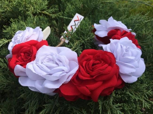 Ободок «Красные и белые розы»