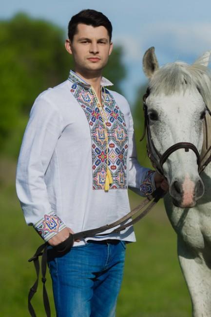 Вышиванка мужская с гербом Украины