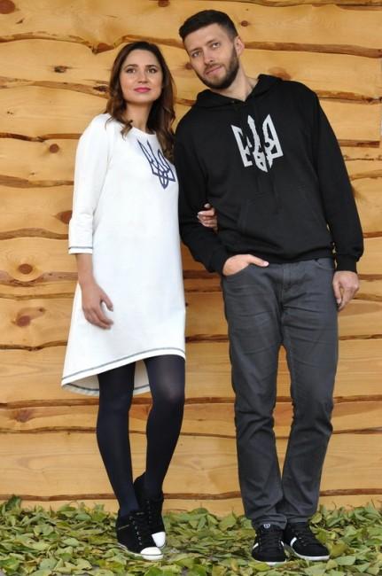 Толстовка мужская и женское трикотажное платье с вышивкой