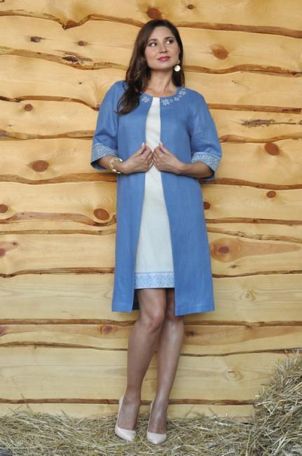 Летнее пальто и платье-футляр с вышивкой