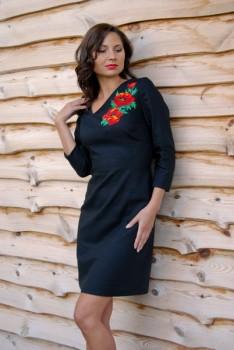 Черное платье с вышивкой бисером