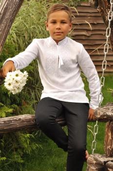 """Вышиванка детская для мальчика из натурального льна вышитая """"белым по белому"""""""