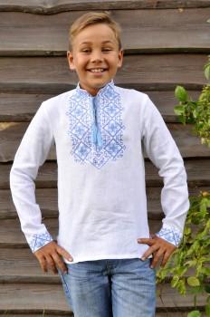 Вышиванка детская для мальчика с сине-голубой вышивкой