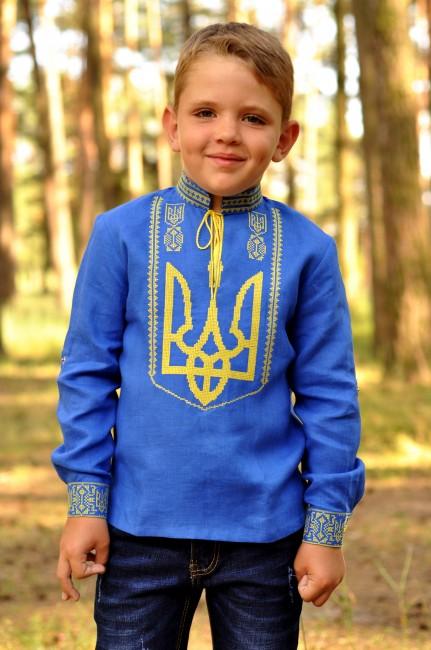 Вышиванка детская для мальчика с гербом Украины