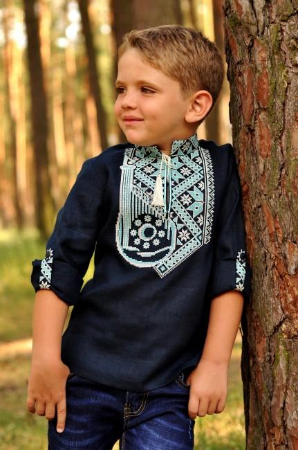 """Эксклюзивная детская вышиванка для мальчика с орнаментом """"Бандура"""""""