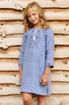 Вышитое платье для девочки с рукавом трансформер