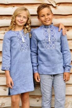 Детский комплект - вышиванка для мальчика и вышитое платье для девочки из тонкого льна