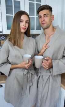 Халат чоловічий та жіночий з невибіленого льону.