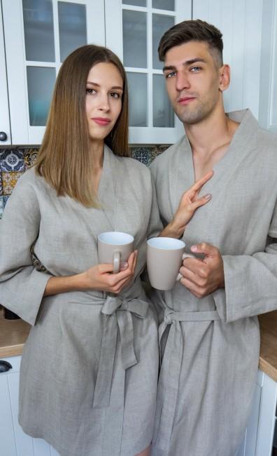 Комплект халатів для чоловіка і жінки з натурального льону