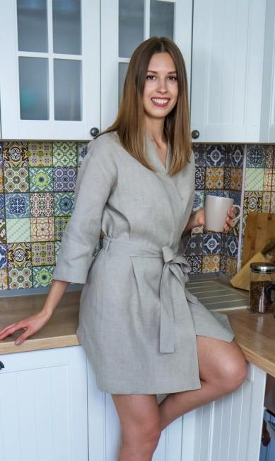 Жіночий халат з натурального нефарбованого льону