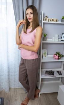 Комплект домашнього жіночого одягу з натурального льону