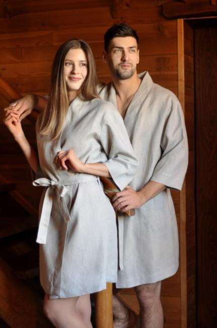 Комплект банних халатів для чоловіка та жінки з натурального льону