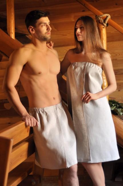 Комплект для лазні - чоловічий і жіночий рушник з натурального льону