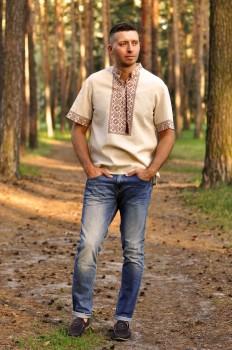 Летняя мужская вышиванка с коротким рукавом