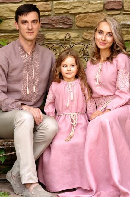 Семейный комплект из натурального льна с идентичной вышивкой