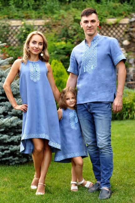 Семейный комплект из голубого льна с геометрическим орнаментом
