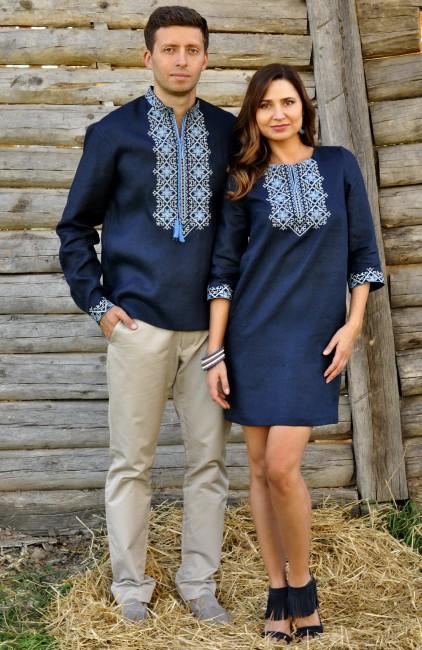 Лаконічний комплект - чоловіча сорочка з довгим рукавом і жіноче плаття-міні з виразною вишивкою
