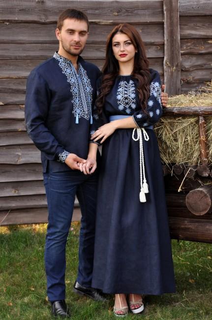 Витончений комплект - чоловіча сорочка з виразною вишивкою і жіноча довга сукня