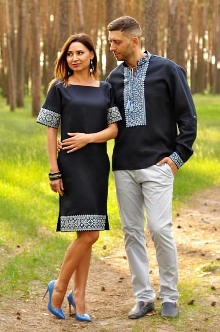Эффектный комплект - мужская рубашка и женское платье из синего льна с выразительной вышивкой