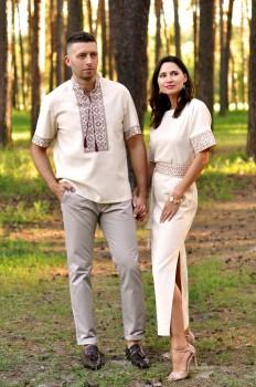 Вишитий літній комплект для пари - чоловіча сорочка і жіноча сукня з коротким рукавом