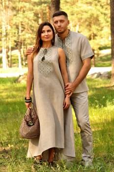 Комплект из натурального льна – мужская рубашка с коротким рукавом и женское длинное платье