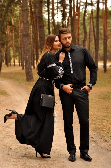 Классическая мужская рубашка и  женское вечернее платье с вышивкой