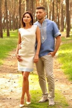 Мужская рубашка с коротким рукавом и женское платье с лаконичной вышивкой