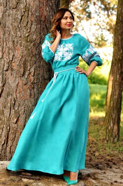 Спокуслива довга сукня відтінку морської хвилі