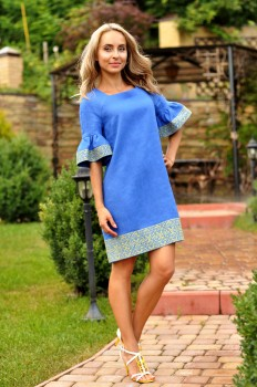 Платье синее с вышивкой в национальном стиле