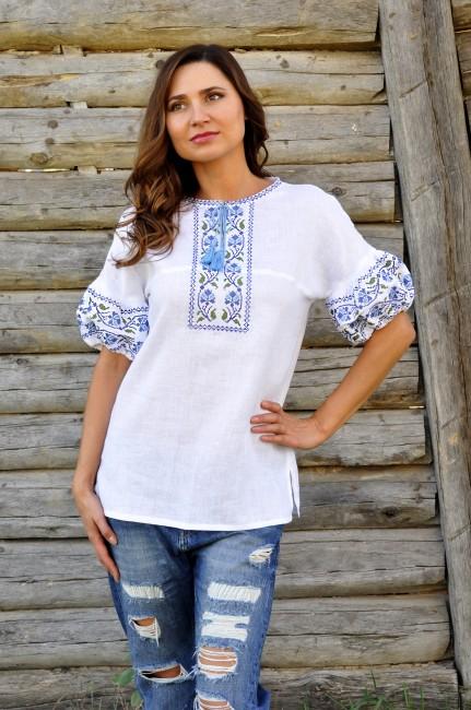 Вышиванка женская с коротким рукавом из белого льна