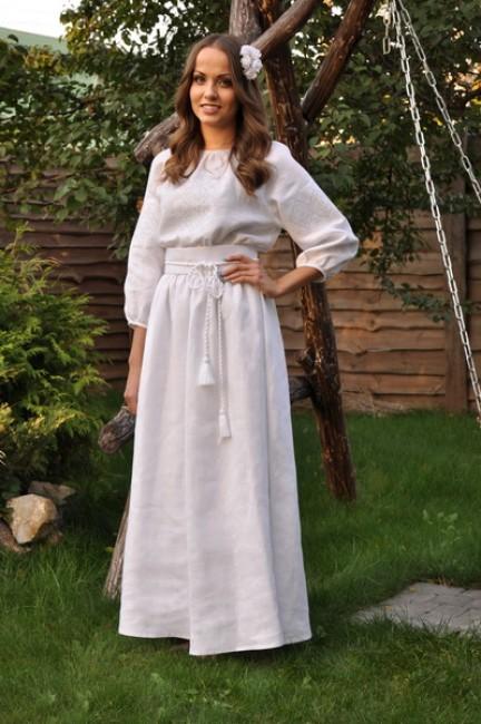 """Белое платье-вышиванка с нежной вышивкой """"белым по белому"""""""