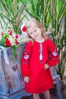 Красное платье-туника для девочки